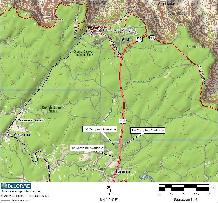 Arizona RV Camping Grand Canyon RV Camping - Grand canyon campground map