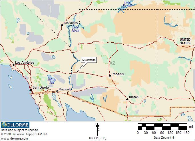 Quartzsite Arizona General Location Map