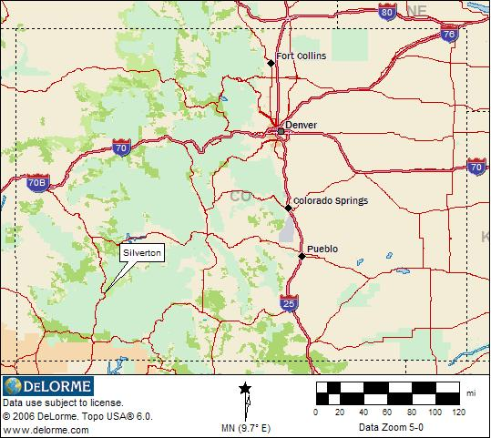 Silverton Location Map