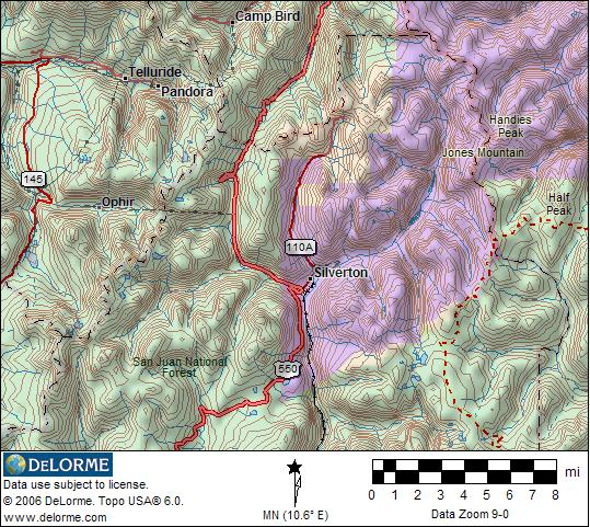 Silverton Publiclands Location Map