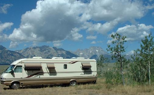RV Camping - Teton Mountains,   Wyoming