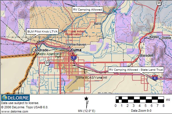 Arizona RV Camping - Yuma | RV Camping YUMA MAP